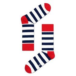 Meia Happy Socks Stripe Sock Azul, Vermelho e Branco